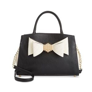 Betsey Johnson Quilted Bow Black/Wht Satchel Bag